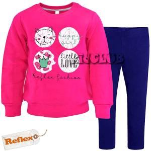 Φόρμα φούτερ με κολάν κοριτσίστικη με τύπωμα Happy Reflex