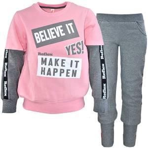 Φόρμα φούτερ κοριτσίστικη με τύπωμα Believe it Reflex