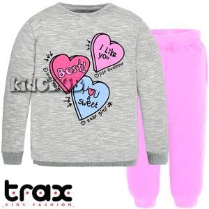 Φόρμα φούτερ κοριτσίστικη με τύπωμα Καρδιές TRAX
