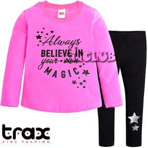 Φόρμα φούτερ με κολάν κοριτσίστικη με τύπωμα Believe Trax