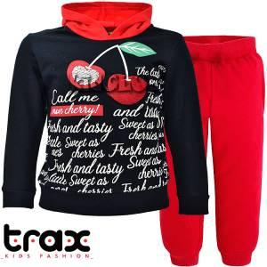 Φόρμα φούτερ κοριτσίστικη με τύπωμα και πούλιες TRAX