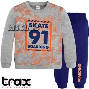 Φόρμα φούτερ αγορίστικη με τύπωμα Boarding TRAX