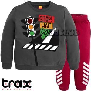 Φόρμα φούτερ αγορίστικη με τύπωμα σηματοδότης TRAX