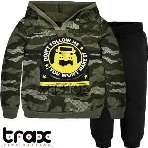 Φόρμα φούτερ αγορίστικη με τύπωμα travellers TRAX