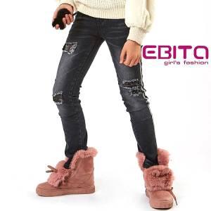 Παντελόνι μακρύ τζιν με απλικέ κοριτσίστικο Ebita fashion