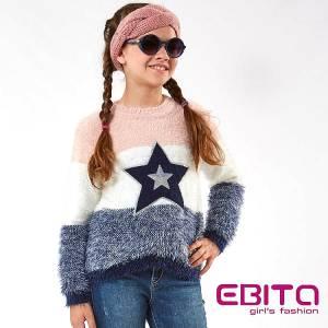 Πουλόβερ μακρυμάνικο κοριτσίστικο ριγέ ebita fashion