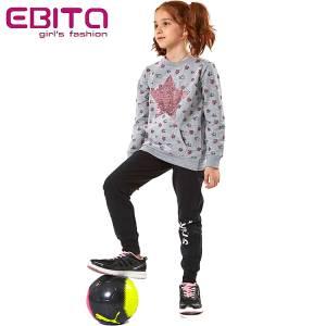 Φόρμα φούτερ κοριτσίστικη με τύπωμα και πούλιες αστέρια ebita fashion