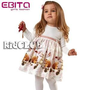 Φόρεμα κοριτσίστικο συνδιασμένο με τύπωμα και ζώνη EBITA-Evita
