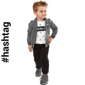 Φόρμα φούτερ αγορίστικη με τύπωμα Extra 3 Τεμάχια Hashtag