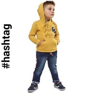 Φόρμα φούτερ αγορίστικη με κουκούλα και φερμουάρ Hashtag