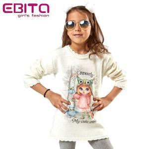 Φόρεμα πλεκτό με τύπωμα πουλιά κοριτσίστικο ebita fashion