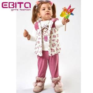 Σετ κοριτσίστικο από βελούδο με αμάνικο τζάκετ 3 Τεμάχια  Ebita fashion