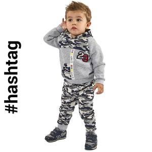 Φόρμα φούτερ για baby αγόρι με τύπωμα παραλλαγής Hashtag