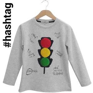 Μπλούζα μακρυμάνικη αγορίστικη με τύπωμα και πούλιες Hashtag