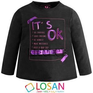 Μπλούζα μακρυμάνικη κοριτσίστικη με τύπωμα Happy Losan