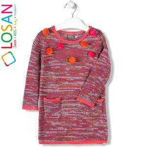 Φόρεμα πλεκτό ριγέ κοριτσίστικο Losan