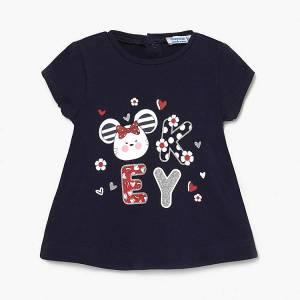 Μπλούζα με κοντό μανίκι για κορίτσι με τύπωμα Λουλούδια Mayoral
