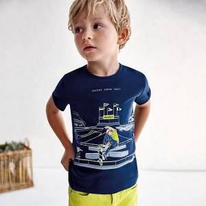 Μπλούζα με κοντό μανίκι για αγόρι με στάμπα skate Mayoral