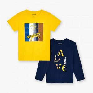 Σετ 2 μπλούζες κοντομάνικη και μακρυμάνικη αγόρι με στάμπα alive Mayoral