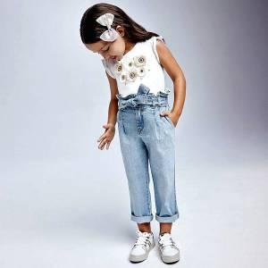 Παντελόνι μακρύ τζιν κορίτσι με πιέτες Mayoral