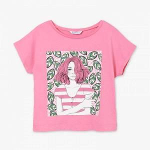Μπλούζα με κοντό μανίκι για κορίτσι με τύπωμα φύλλα Mayoral
