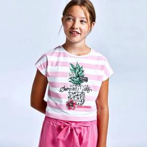 Σετ μπλούζα και σορτς για κορίτσι σταμπωτό Mayoral