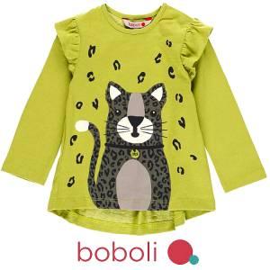 Μπλούζα μακρυμάνικη κοριτσίστικη με τύπωμα Animal Boboli