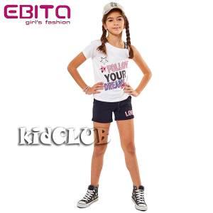 Σετ μπλούζα και σορτς κορίτσι σταμπωτό Follow EBITA
