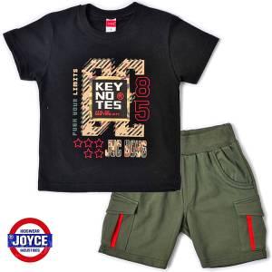 Σετ μπλούζα με βερμούδα παντελόνι αγόρι με στάμπα push Joyce