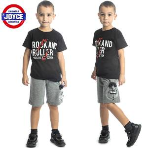 Σετ μπλούζα με βερμούδα παντελόνι αγόρι με στάμπα roller Joyce