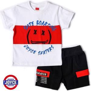 Σετ μπλούζα με βερμούδα παντελόνι αγόρι με στάμπα skate boarding Joyce