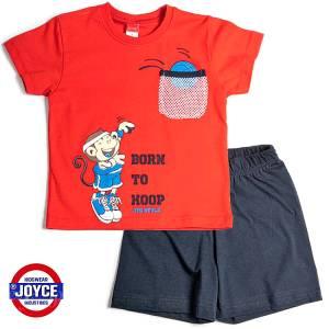 Σετ μπλούζα με βερμούδα παντελόνι αγόρι με στάμπα hoop Joyce