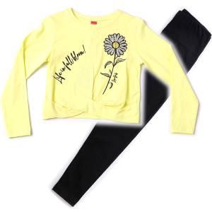 Σετ κορίτσι μακρυμάνικη μπλούζα και κολάν λουλούδι Joyce