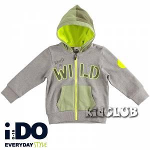 Ζακέτα φούτερ αγορίστικη με κουκούλα και κέντημα wild IDO