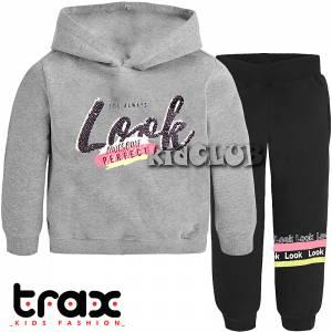 Φόρμα για κορίτσι με στάμπα και κουκούλα perfect Trax