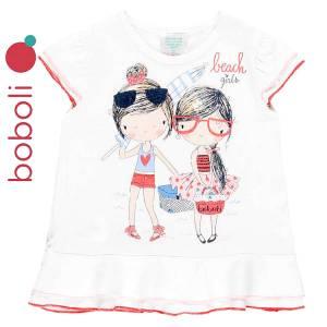 Μπλούζα κοντομάνικη κορίτσι σταμπωτή holidays της Boboli