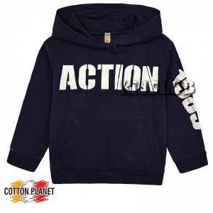 Μπλούζα φούτερ αγορίστικη με στάμπα Action Cotton Planet