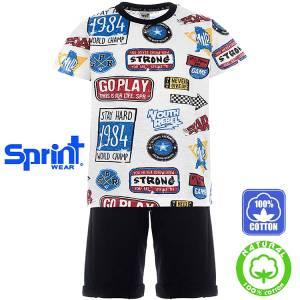 Σετ μπλούζα με κοντό παντελόνι αγόρι με τύπωμα Strong Sprint
