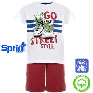 Σετ μπλούζα με κοντό παντελόνι αγόρι με τύπωμα Go Sprint