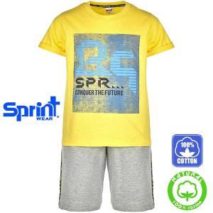 Σετ μπλούζα με κοντό παντελόνι αγόρι με τύπωμα conquer Sprint