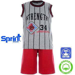 Σετ μπλούζα τιράντες με κοντό παντελόνι αγόρι με τύπωμα active Sprint