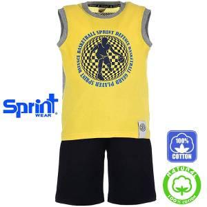 Σετ μπλούζα τιράντες με κοντό παντελόνι αγόρι με τύπωμα defence Sprint