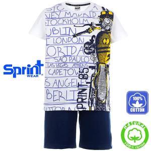 Σετ μπλούζα με κοντό παντελόνι αγόρι με τύπωμα moto Sprint
