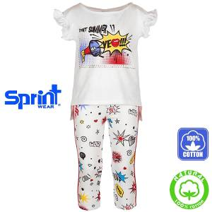 Σετ μπλούζα και κολάν κορίτσι με τύπωμα summer Sprint