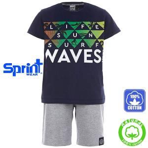 Σετ μπλούζα με κοντό παντελόνι αγόρι με τύπωμα life Sprint