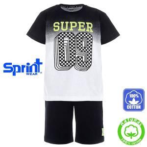 Σετ μπλούζα με κοντό παντελόνι αγόρι με τύπωμα καρό Sprint