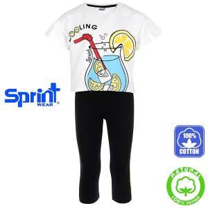 Σετ μπλούζα και κολάν κορίτσι με τύπωμα κοκτέιλ Sprint