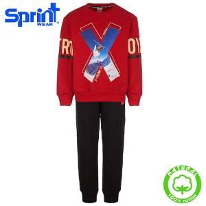 Φόρμα φούτερ αγορίστικη με τύπωμα Strong Sprint