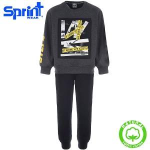 Φόρμα φούτερ αγορίστικη με τύπωμα Keep Sprint