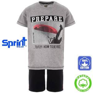 Σετ μπλούζα με κοντό παντελόνι αγόρι με τύπωμα Fly Sprint